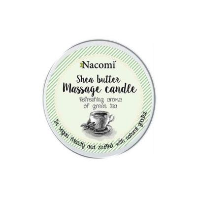 МАСАЖНА СВЕЩ със свеж аромат на зелен чай 150 гр. / NACOMI SHEA BUTTER MASSAGE CANDLE GREEN TEA - изображение
