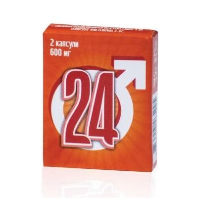 """""""24""""  ПРИРОДНА МЪЖКА СИЛА капсули 600 мг. 2 броя / """"24"""" NATURAL MEN'S POWER"""