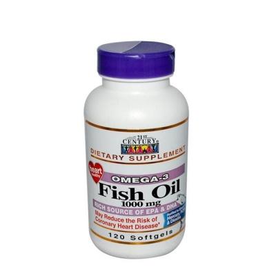 ОМЕГА - 3 ОТ РИБЕНО МАСЛО капсули 1000 мг. 120 броя / 21ST CENTURY OMEGA - 3 FISH OIL