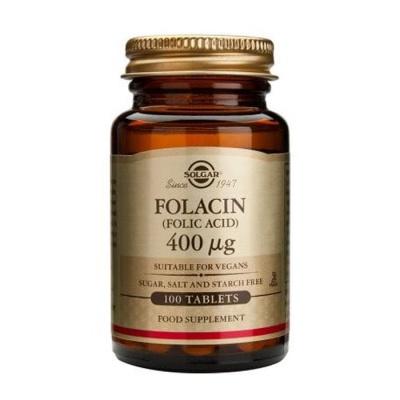 СОЛГАР ФОЛИЕВА КИСЕЛИНА (ФОЛАЦИН) таблетки 400 мкг. 100 броя / SOLGAR FOLACIN (FOLIC ACID)