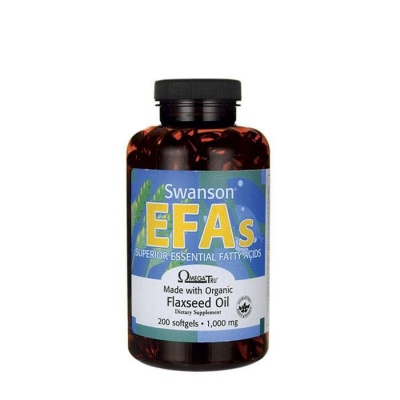 СУОНСЪН ЕФА ЛЕНЕНО МАСЛО софтгел капсули 1000 мг. 200 броя / SWANSON EFA FLAXSEED OIL