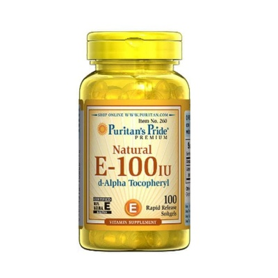 НАТУРАЛЕН ВИТАМИН Е капсули 100 IU 100 броя / PURITAN'S PRIDE NATURAL VITAMIN E